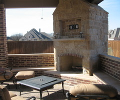 Custom Covered Patio With Outdoor Kitchen And Fireplace « Archadeck Of Fort Worth, Tx