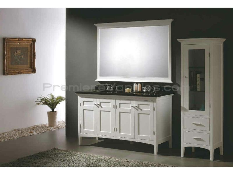 Modern White 60 Inch Double Vanity With Black Top Design