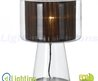 Ademar Large Glass Table Lamp W/ Fabric Shade