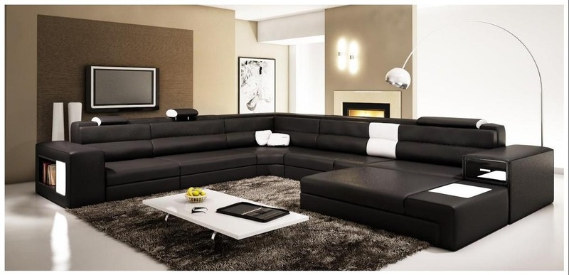 Black Leather Modern Sectional Sofa 800 x 387