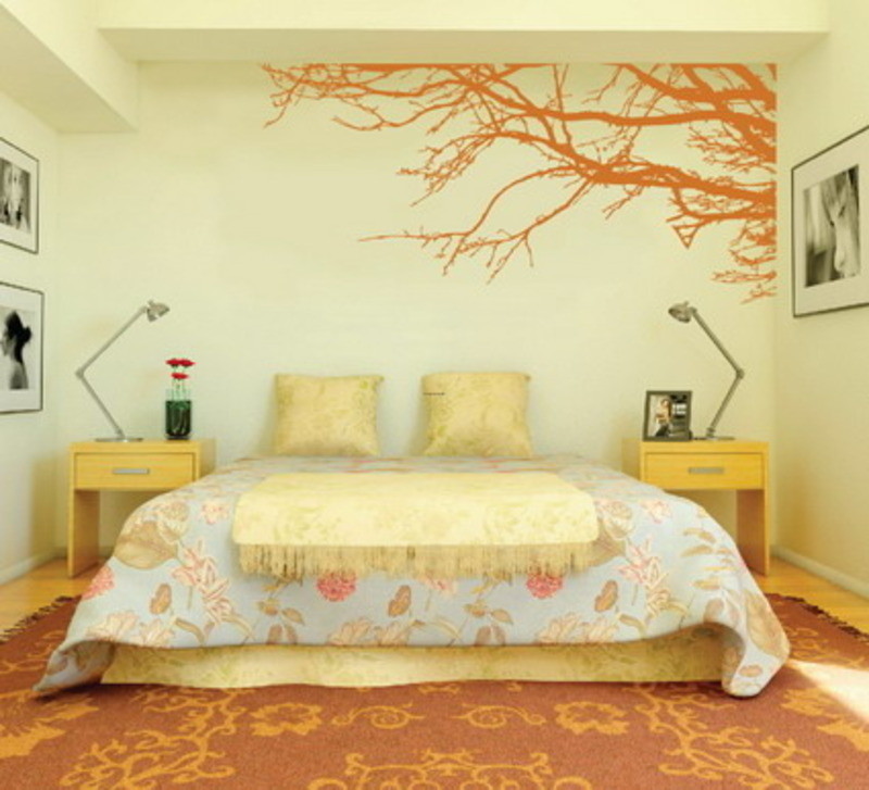 Decorating bedroom with modern wall stickers paint designs for Bedroom painting ideas india