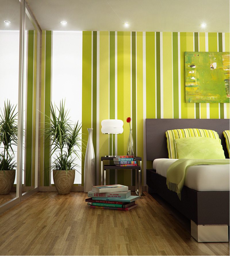 Paint Stripes On Walls, Green Bold Striking Striped Wall Painting For 2013 Design Note