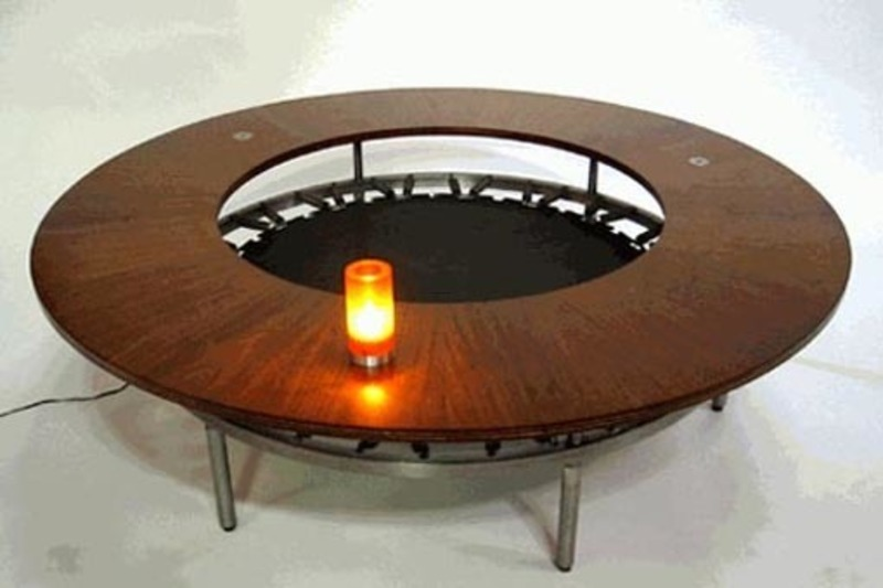 Round Table Design, Wood Walled Round Table Design Center Surrounding Mysterious Hollow