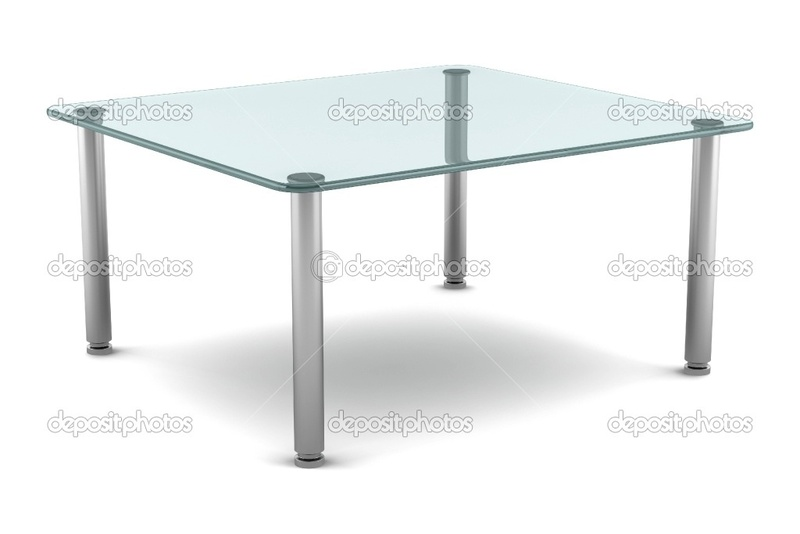 Modern Glass Table, Modern Glass Table Isolated On White Background