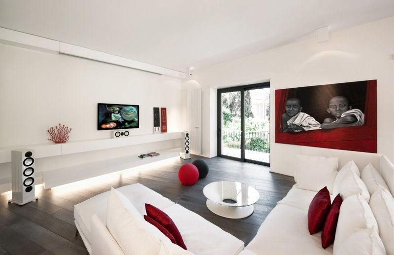 Red White Black Bedroom, Inspiring White And Black Bedroom : Amazing Red White Modern Minimalist Living Room