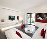 Inspiring White And Black Bedroom : Amazing Red White Modern Minimalist Living Room