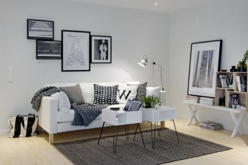 White Apartment Decoration, White Apartment Decoration Mix With Modern Furniture