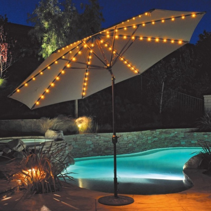 Patio Umbrella Lighting, Patio Umbrella With Led Umbrella Lights/Auto Tilt