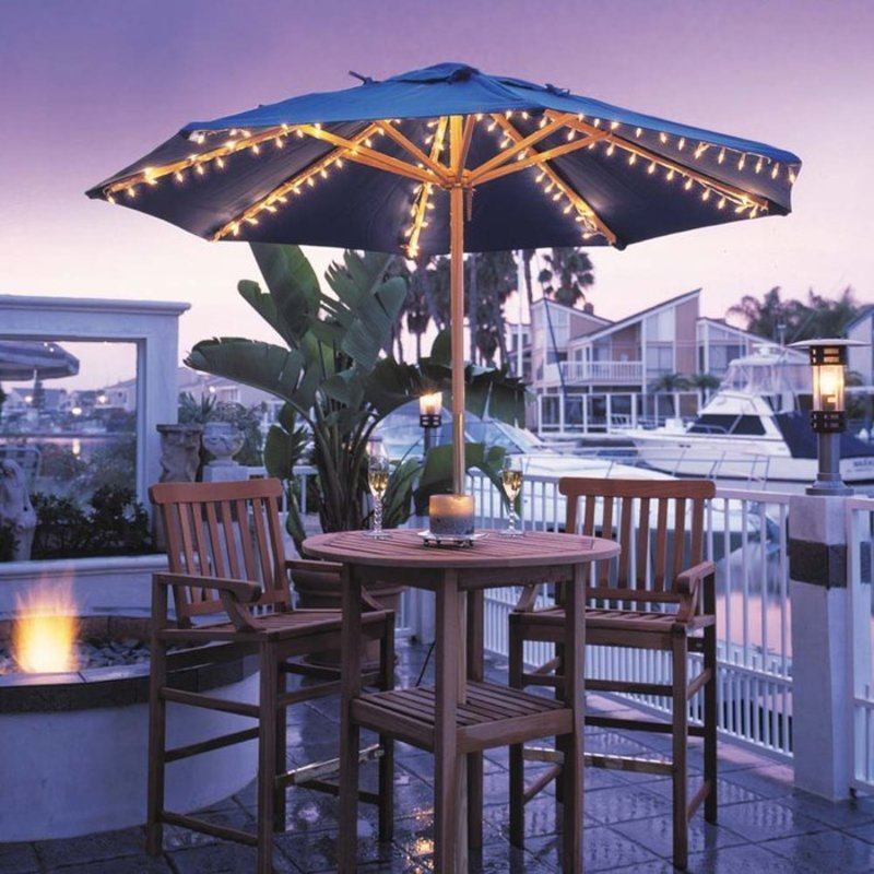Harbor patio umbrella lights at brookstone buy now for Decor umbrellas