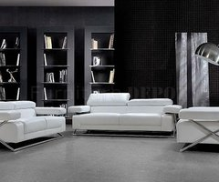 Modern Full Italian Leather 3 Pc Living Room Set Linx White