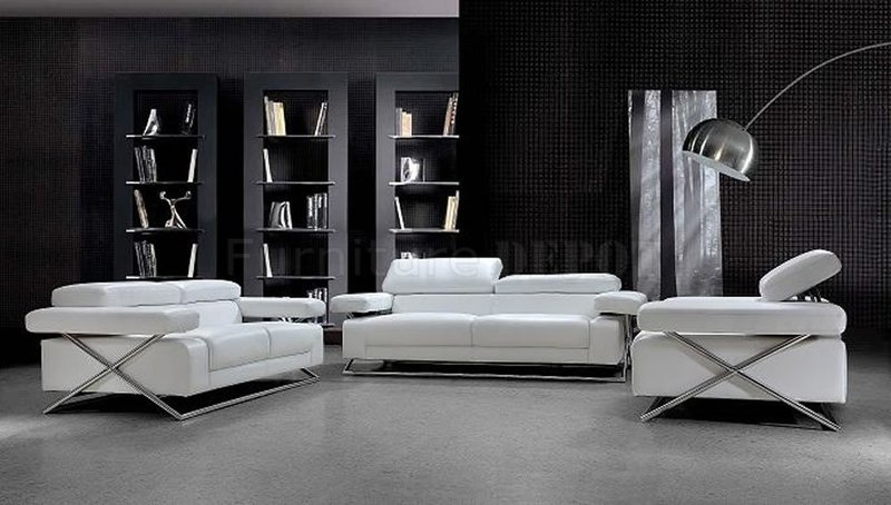 Ultra Modern Living Room, Modern Full Italian Leather 3 Pc Living Room Set Linx White