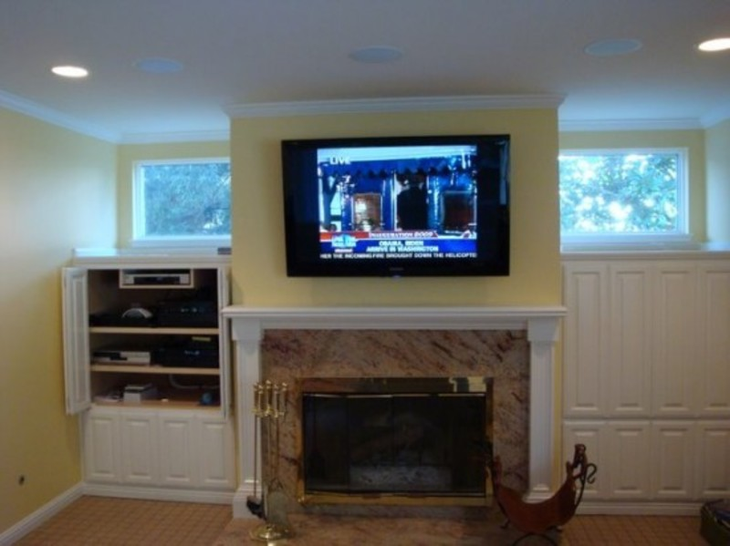 Living Room With Tv Above Fireplace Decorating Ideas