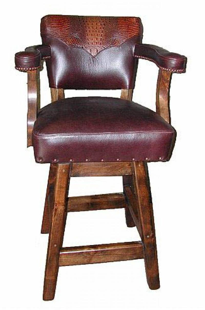 Leather Bar Stools ~ Furniture swivel bar stools with arms design classic