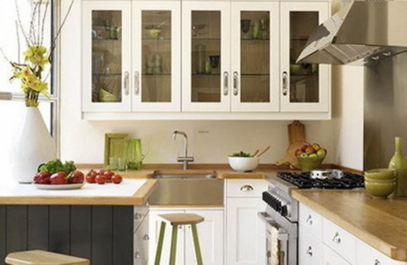 House Interior Design Ideas For Small House, White Wall Cabinets And Wood Table In Small Kitchen Design Ideas In Modern House Interior Design Ideas