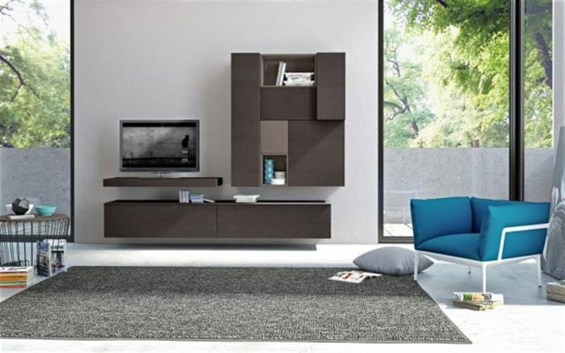 Wall Mounted Tv Cabinet, Bright Living Room With Contemporary Decor, Furnished By Wall