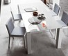 White Lacquer Dining Table Design, White Block Dining Table By Go Modern