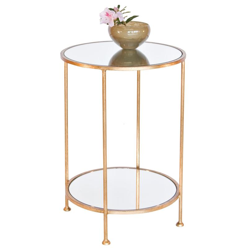 Lucy Mirrored Coffee Table: Worlds Away Chico Small 2 Tier Gold Leaf Side Table
