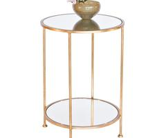 Worlds Away Chico Small 2 Tier Gold Leaf Side Table, Mirror Top