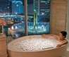 Bathroom Comfortable Stylist And Luxury Dream Bathroom Design Ideas City Wall Mural Whirlpool And Armchair Bathroom Dream Relaxing Bathtub Spa Luxury Bathroom Design Ideas With Amazing Clear Glass Window With Comfortable Stylist And Luxury Dream Bathroom