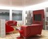 Best Home White Living Room Design Featuring Modern Red Sofa Picture
