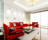 Red Sofa And Elegant Coffee Table In White Modern Living Room Decorating Designs Ideas 2012