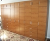 Handmade Honey Maple Matte Finish Complete Wall Wardrobe Closet/Storage Solution With A Custom Look And Satin Finish Hardware By Contempo Closet