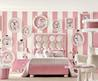 Cute Poodle Dog Theme For Pink Bedroom Design  With Pink And White Stripe Wall And Cream Rug