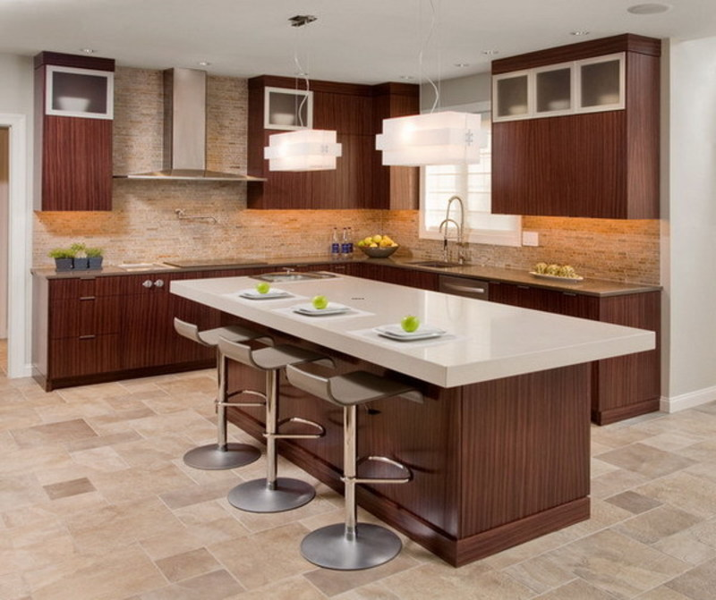 Contemporary Kitchen Design With Functional Brown Kitchen Island And Stylish Bar Stools Design