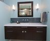 Dark Floating Cabinet With A White Countertop And An Undermount Sink Design Ideas, Pictures, Remodels And Decor