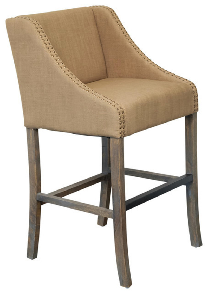 Springfield Single Brown Fabric Counter Stool Design