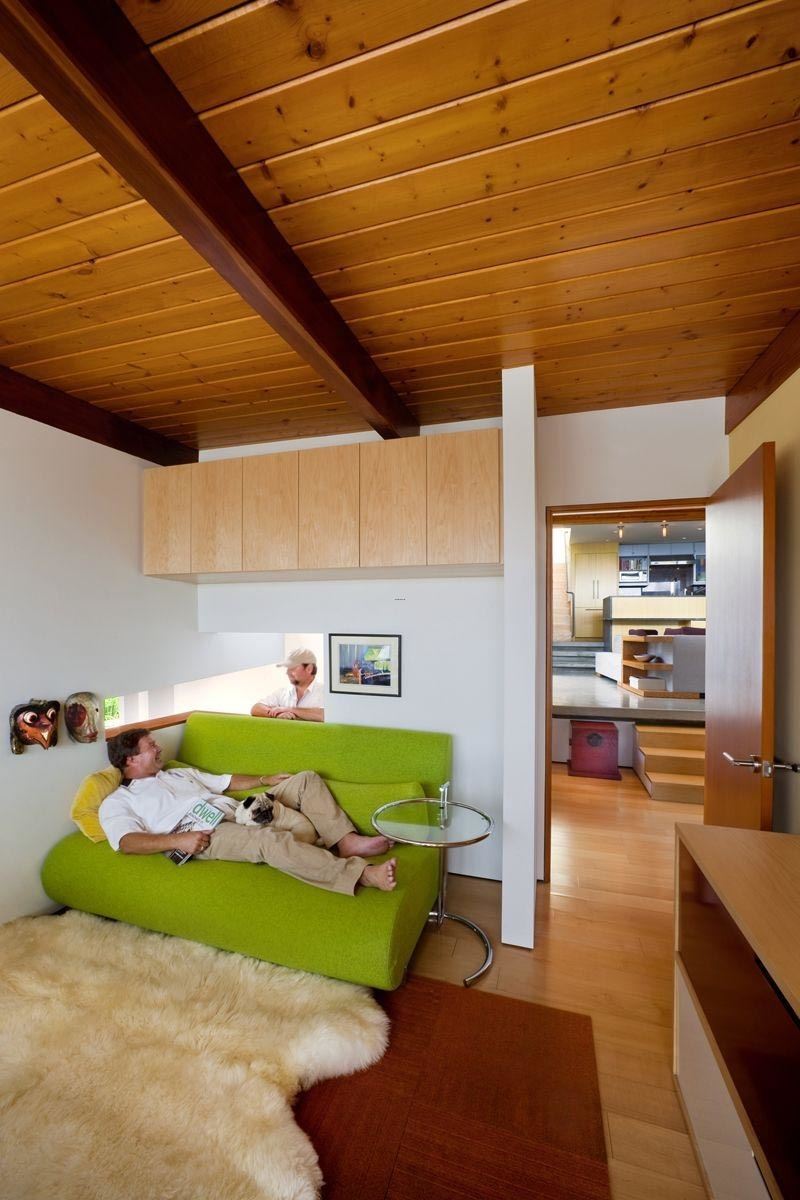 Awesome Small Home Temple Design Idea With Ceiling Wooden And Green Sofa Greatest Decorating