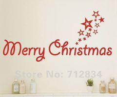 [B.Z.D] Free Shipping  Christmas Decor Merry Christmas With Stars Art Decals Removable Home Decor Vinyl Wall Stickers 60x30cm
