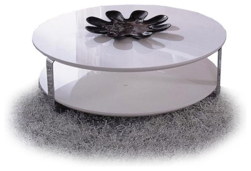 Modern White Lacquer Round Coffee Table Ono Design Bookmark 17437