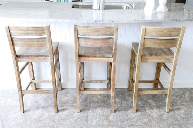 Bar Stools, Traditional Teak Wooden Bar Stools Blended With Ceramics Tile Also Lustrous Top Kitchen Island
