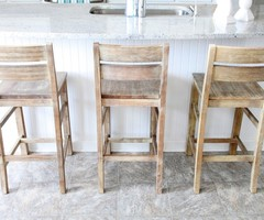 Traditional Teak Wooden Bar Stools Blended With Ceramics Tile Also Lustrous Top Kitchen Island