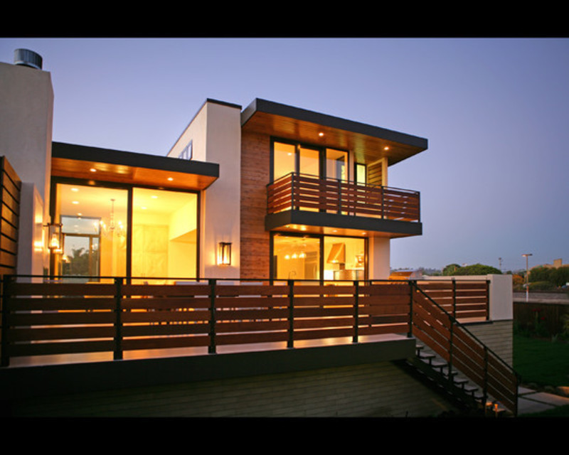 Marvelous contemporary house exterior with modern balcony for Building exterior lighting design