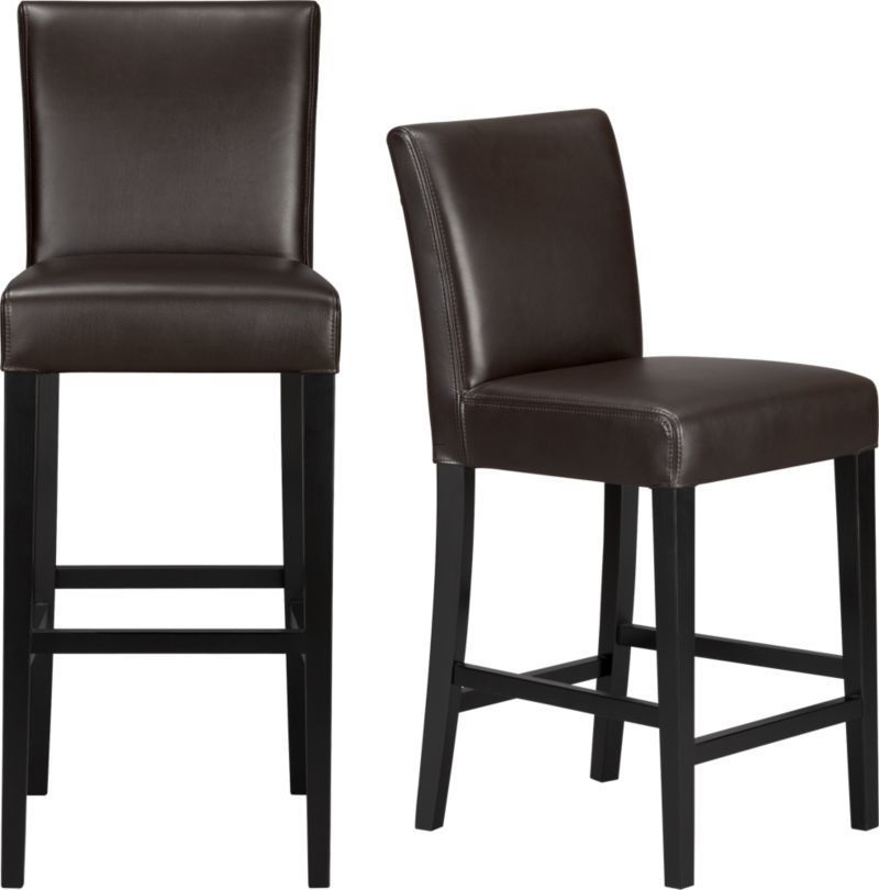 Bar Stools, Lowe Chocolate Leather Bar Stools