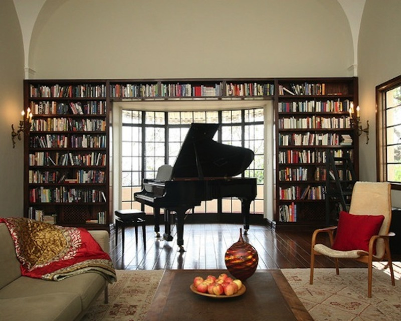 Piano decor music nook music room on pinterest for Piano room decor