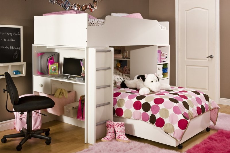 Bunk beds for girls with desk inspiration ideas 11 design - Bunk bed decorating ideas ...