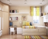 Amusing Compact Furniture Small Spaces By White Wooden Table Having Drawers On The Colorful Area Rug Also Wooden Table And Floating Bookshelves On The Cream Wall Color Of Extraordinary Compact Furniture Small Spaces For Your Small Room And Interior Ideas