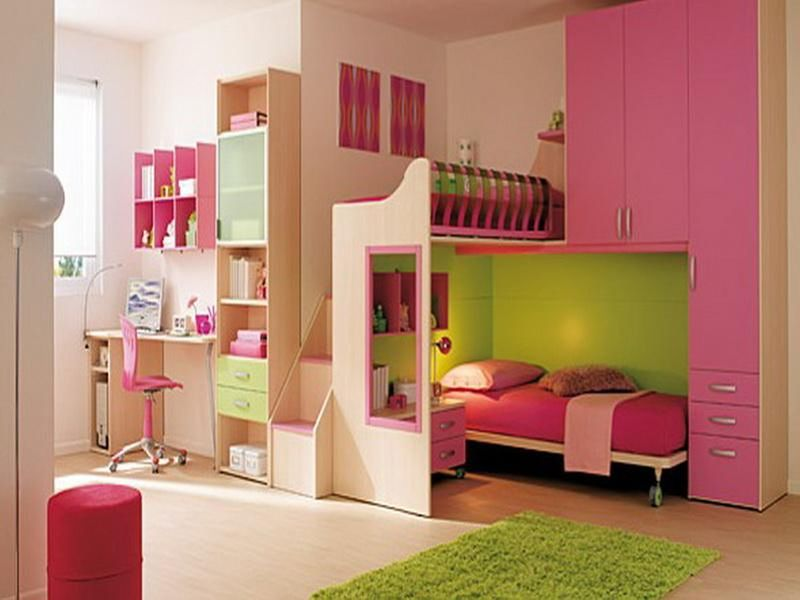 Girl Bedroom Ideas For Small Bedrooms Little Girl Bedroom With Pink Storage Bunk Bed And Modern Small Desk Cool Room Colors For Teenagers Small Teenage Bedroom Ideas Cool Bedroom Designs For Small