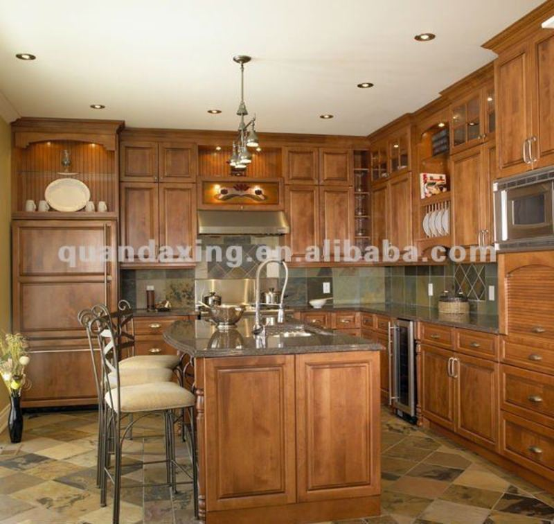 Antique Solid Wood Kitchen Cabinets With Granite Bench