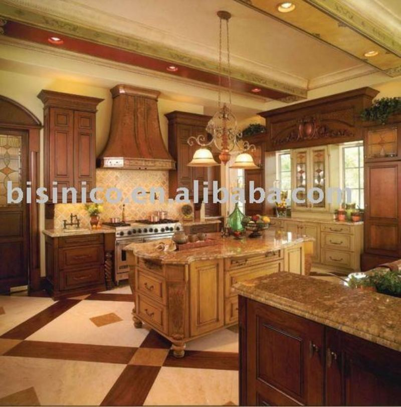 Kitchen American Kitchen Cabinet Hand Carved Solid Wood Kitchen