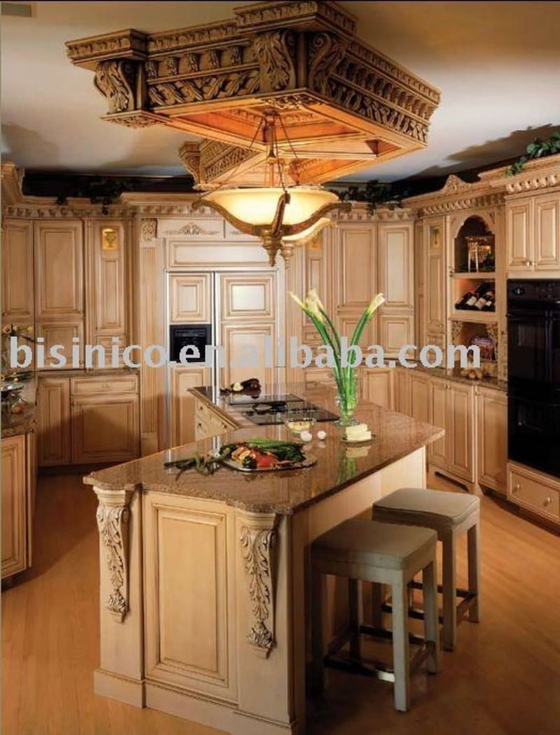 Solid wood american kitchen cabinet luxurious hand carved for Carved kitchen cabinets