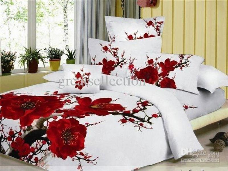 Cotton Reactive Dyeing Printed Plum Flower Floral Bedding