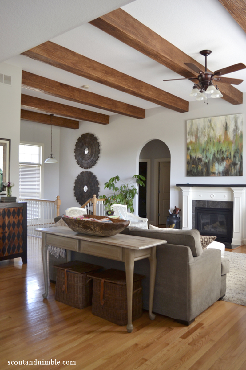 Kitchen living room tour with kid friendly storage - Living room ceiling beams ...