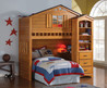 Rustic Wood House Kids Twin Loft Bed With Desk