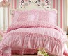 Pink White Girls Lace Bedding Sets