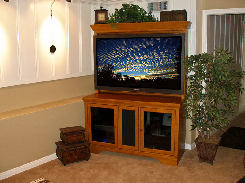 Striking Corner Cabinet For Tv With Lcd Tv Lift System And