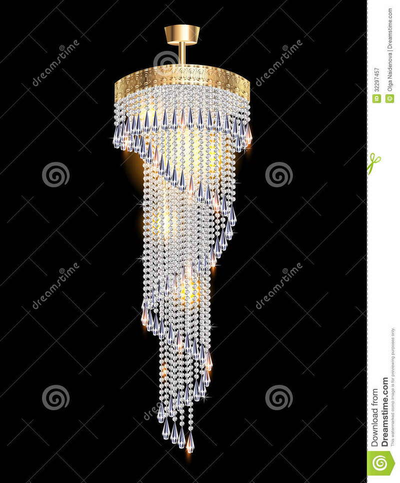Modern Chandelier, Modern Chandelier With Crystal Pendants Royalty Free Stock Photography
